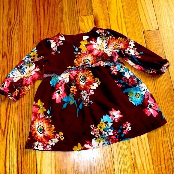 🌸 Burgundy Baby Gap Floral Long Sleeve Dress